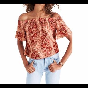 Madewell off the shoulder floral top